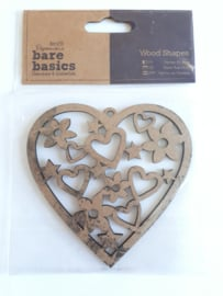 Docrafts Papermania bare basics wood shape heart (hart) licht beschadigd