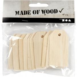Made Of Wood houten Manilla tags 10 stuks 3 x 6 cm dikte 2 mm.