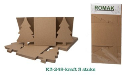 ROMAK Quality paper Kerstboom kabinet kaart K3-249-kraft bruin 3 stuks