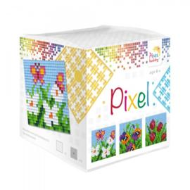 Pixelhobby Pixel mosaic kubussetje bloemen 6,2 x 6,2 cm