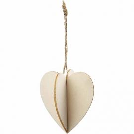 3D decoraties van hout hart 7,5 x 8 cm dikte 0,2 cm 3 stuks