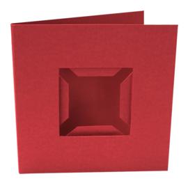 Kaarten passe-partout dubbele ril voorkant rood 4 stuks