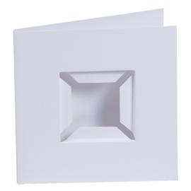 Kaarten passe-partout dubbele ril voorkant wit 4 stuks