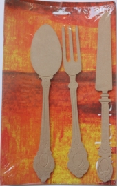 MDF Rico Design Galerie Spoon, Fork & Knife (lepel, vork & mes) 5 mm dik