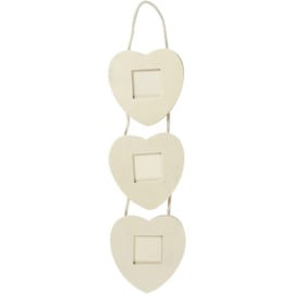 Houten triplex lijst in 3 harten design met ophangkoord 11,2 x 45 cm dikte 7 mm