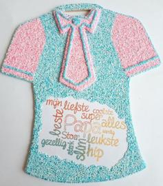 Joy!Crafts MDF t-shirt met stropdas bewerkt met glitter Foam Clay