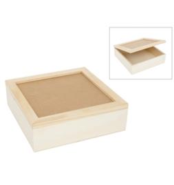 Vierkanten houten doos met glasplaat 23,5 x 23,5 cm en 7 cm hoog