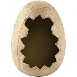 Handgemaakte eierschaal van papier-mâché Ø 6 cm 12 cm hoog