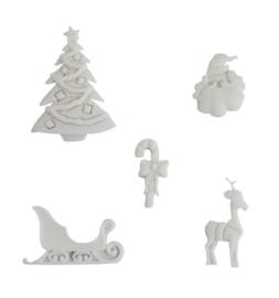 Ismare Keramiek scrapbook ornamenten Kerst 5 stuks