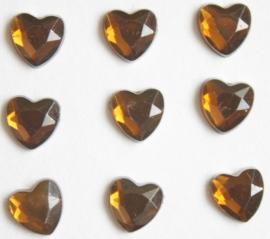 Strasstenen hart donkerbruin facet geslepen 8 mm 200 stuks