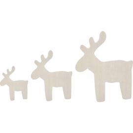 Kerst rendieren van hout fineer 3 stuks