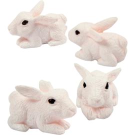 Mini dieren konijnen van hars huidskleur 4 stuks 1 x 2 x 1 cm