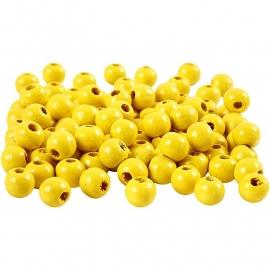 Houten kralen Beads Wood geel Ø 8 mm 15 gram circa 100 stuks