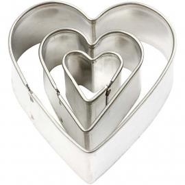 Makin's uitstekers harten 3 stuks, grootste 3,8 x 4,1 cm