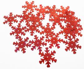 Zakje pailletten sneeuwvlokken klein rood 13 stuks Ø 2,5 cm
