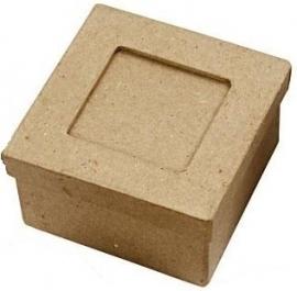 Passepartout papier-mâché doos vierkant 7,7 x 7,7 x 4,6 cm