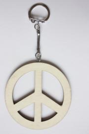 Sleutelhanger triplex 'peace' vrede 6,7 cm, dikte 3 mm