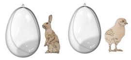 Joy!Crafts 2 transparante eieren met kuiken en haas 6211/0008