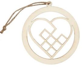 Kerstornament triplex hart Ø 8 cm dikte 3 mm
