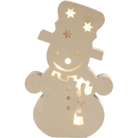 Made of Paper Mache (papier-mâché) sneeuwpop met licht 17,5 x 27 cm