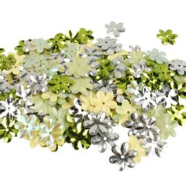 Zakje pailletten bloemen groen harmonie 10 gram Ø 15 mm