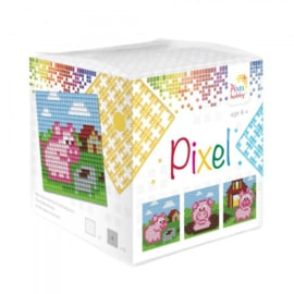 Pixelhobby Pixel mosaic kubussetje biggetjes 6,2 x 6,2 cm