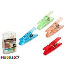 Pincello plastic gekleurde knijpers assorti 2,5 cm 20 stuks