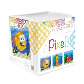 Pixelhobby Pixel mosaic kubussetje zeedieren 6,2 x 6,2 cm