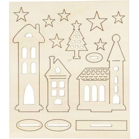 DIY houten (triplex) figuren kerk, huizen, Kerstboom en sterren 57887