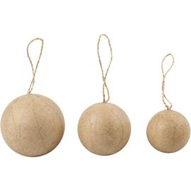 Kerstballen van papier-mâché assorti met jute ophanglus 3 stuks Ø 4, 5 en 6 cm