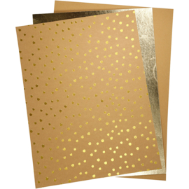 Faux Leather Paper natural gold 3 vellen in verschillende maten