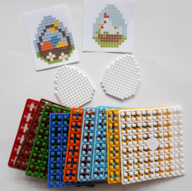 Pixelhobby 2 Paaseieren kip en mandje klein compleet 3,5 x 4 cm