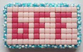 Zelfgemaakte Pixelhobby versiering BFF roze 5 stuks 3,5 x 2,1 cm