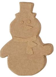 Sneeuwpop van bruin papier-mâché 8,5 x 2 x 12 cm