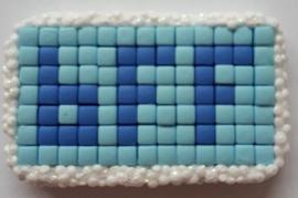 Zelfgemaakte Pixelhobby versiering BFF blauw 5 stuks 3,5 x 2,1 cm