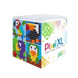 Pixelhobby XL mosaic kubussetje vogels 6,2 x 6,2 cm
