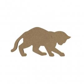 Gomille MDF spelende kat / poes 15,5 x 8 cm dikte 5 mm