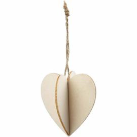 3D decoraties van hout hart 7,5 x 8 cm dikte 0,2 cm 1 stuk
