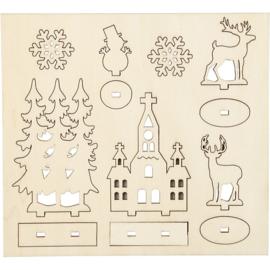 DIY houten (triplex) figuren bomen, sneeuwpop, kerk, sneeuwsterren en herten 57883