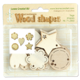 Leane Creatief Wood shapes Tags (labels) 15 stuks LCR71.2502