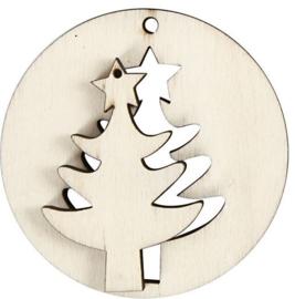Hangende decoratie boom 2-in-1 licht hout (triplex) Ø 7 cm