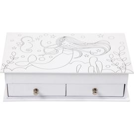 Papier-mâché sieradendoos wit zeemeermin 18 x 10,8 x 5 cm