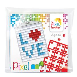Pixelhobby Pixel mosaic medaillon startset LOVE sleutelhanger