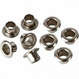 Eyelets zilverkleurig metaal 100 stuks buitenmaat 7,5 mm binnenmaat 4 mm