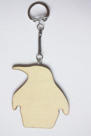 Sleutelhanger triplex pinguïn 6,3 x 5,8 cm, dikte 3 mm