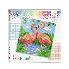 Pixelhobby Pixel set flamingo's 12 x 12 cm