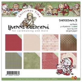 Yvonne Creations Christmas Time Paperpack 3 CDPP10001 15,2 x 15,2 cm 24 vellen