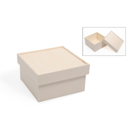 Houten doos met opstaande rand op de deksel 15 x 15 x 8,2 cm