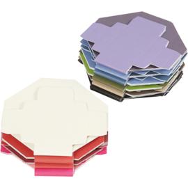 Kleurrijke vouwdozen 100 stuks assorti 5,5 x 5,5 cm 250 grams papier