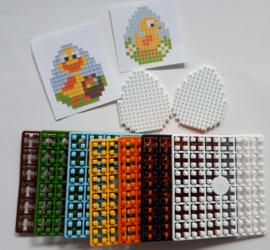 Pixelhobby 2 Paaseieren kuikentjes klein compleet 3,5 x 4 cm